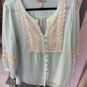 Sheer blue and cream crotchet